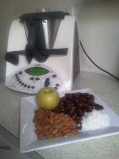C.A.D.A. - with less dates than previous recipe  100g dates 100g almonds 1 green apple quartered (leave the core in or out)  3 Tbsp dried coconut