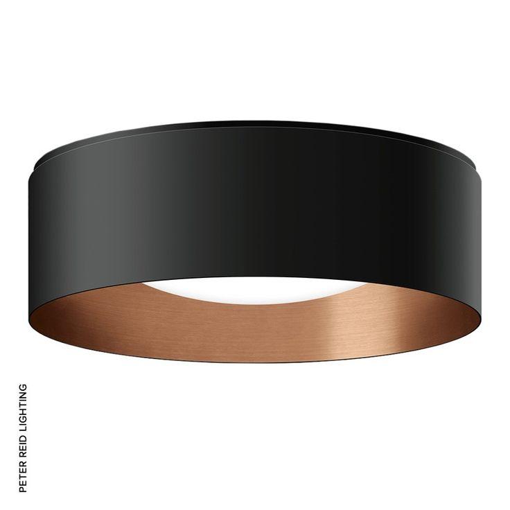 Studio Line LED Circular Flush Ceiling Lights Velvet Black / Copper (50 174.6, 50 175.6 & 50 176.6) by Glashütte Limburg.