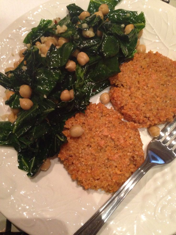 Quinoa patties with chickpeas and brussel sprout greens salad made with spicy olive oil dressing.