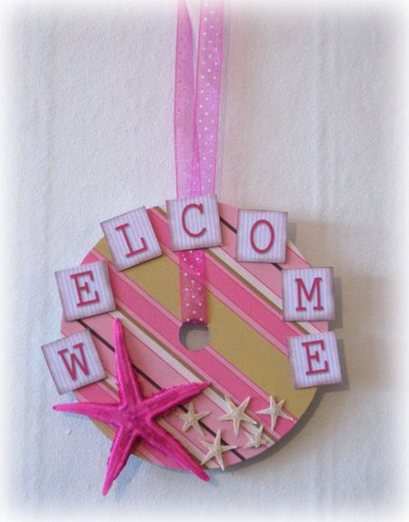 Altered CD Welcome Sign Beach