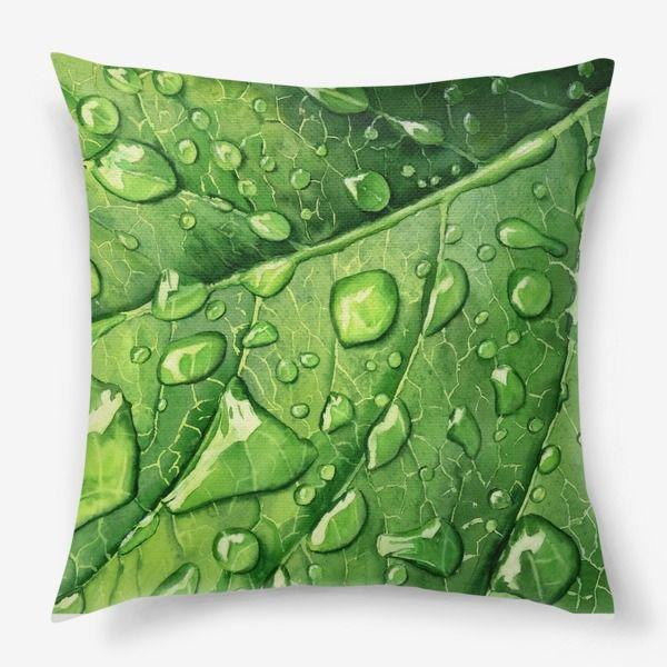Подушка Капли росы на зеленом листе, Автор: Любовь Лебедева, Цена: 1250 р.