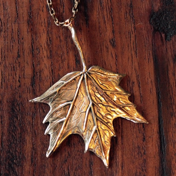 Brass maple leaf pendant