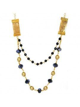 Colar Longo feminino Dourado com Pedras e Pérolas  e6f30965dc9ba