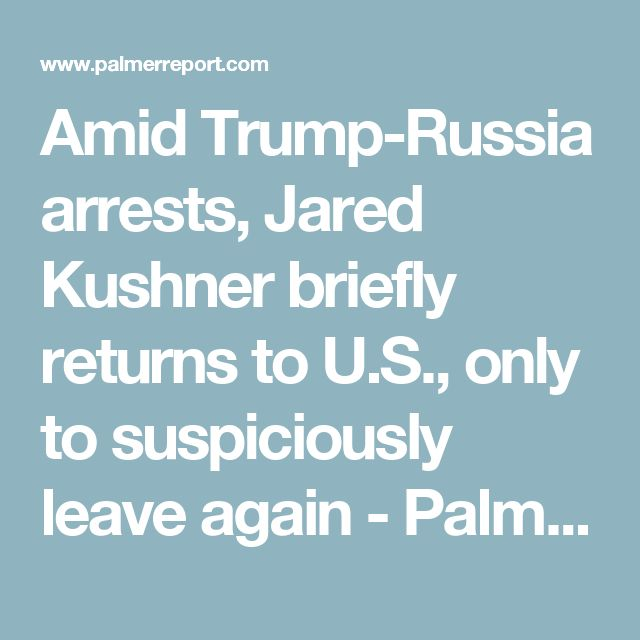 Amid Trump-Russia arrests, Jared Kushner briefly returns to U.S., only to suspiciously leave again - Palmer Report