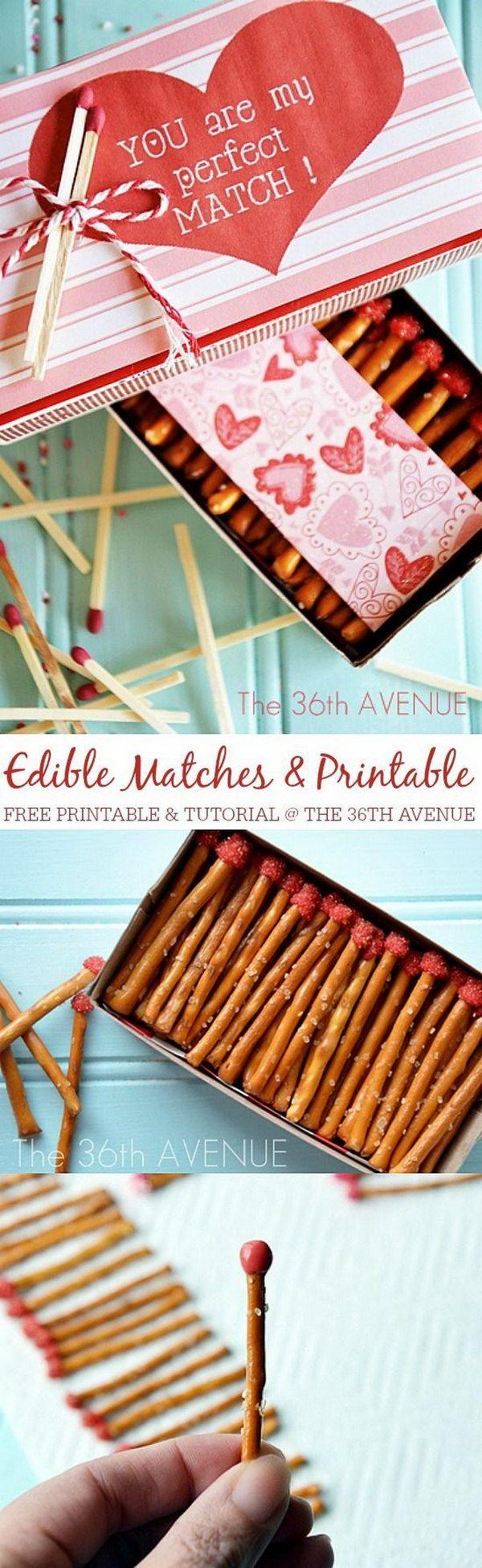Valentine Edible Box Of Pretzel Matches.