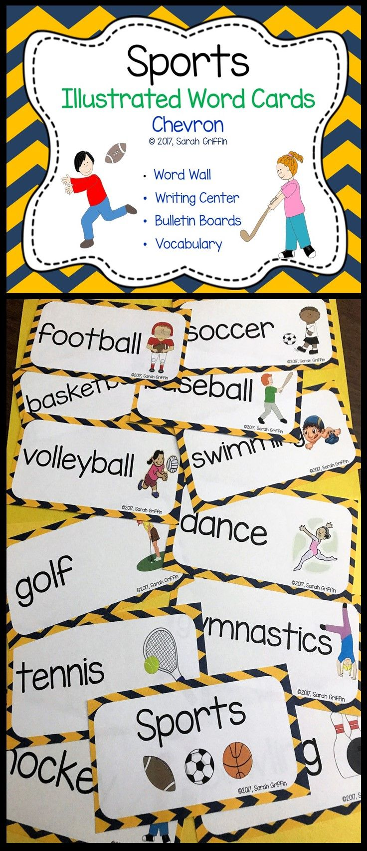Sports Vocabulary Picture Word Cards | Chevron | PE | Gym | Word Wall | Bulletin Board | ESL | ELL | PreK | Kindergarten | First Grade | Second Grade