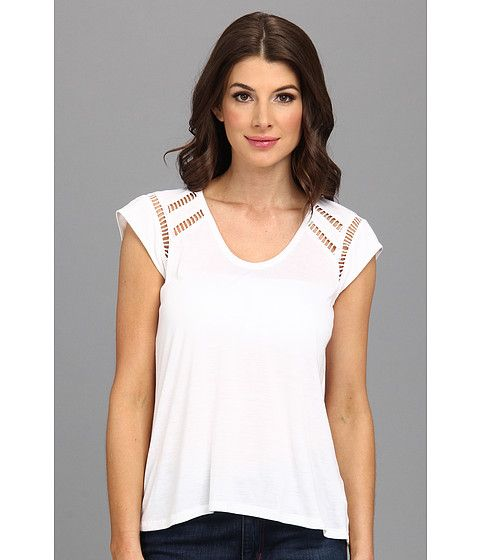 Rebecca Taylor Rebecca Taylor  SS Jersey Ladders Top White Womens T Shirt for 97.99 at Im in!