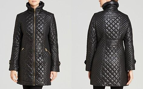 Via Spiga Zip Front Quilted Coat
