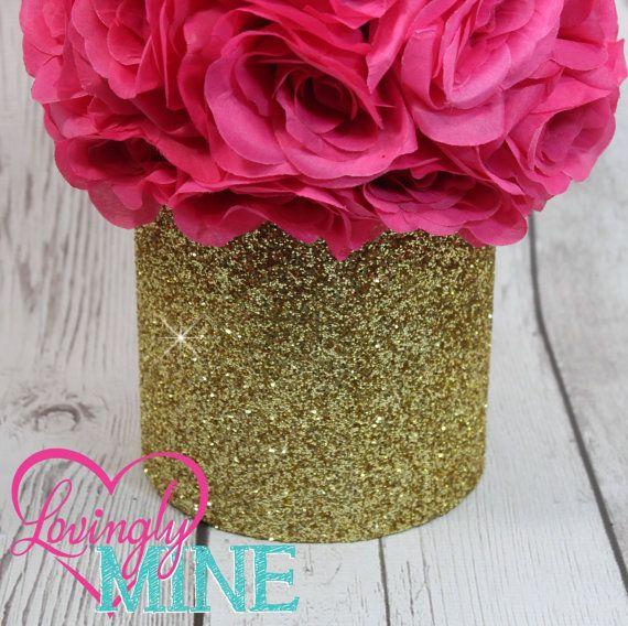 Glitter Gold & Hot Pink Centerpiece Hot Pink Silk by LovinglyMine