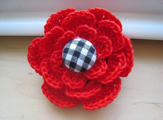 Crochet Hair Red : Red Crocheted Hair Clip $7 BE MY VALENTINE Pinterest