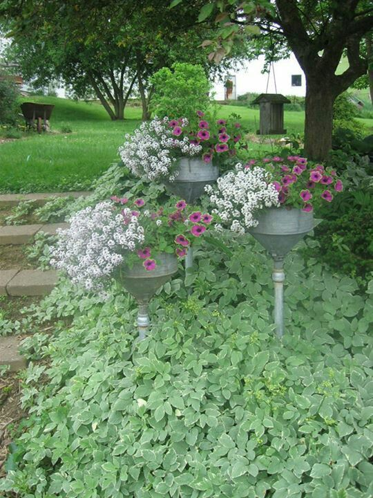 these are funnels, stuck on wood handles to plug the hole & provide a stake for putting in the ground. Love the height the give the flower bed.