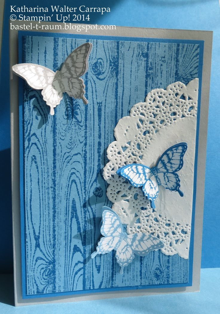 """Butterflies on hardwood background card with a half doily. Stamp set """"Papillon Potpourri"""" by Stampin' Up! and matching butterfly punch. Follow the link for more detailed pictures: http://bastel-t-raum.blogspot.com/2014/07/schmetterlinge-auf-holzoptik.html"""