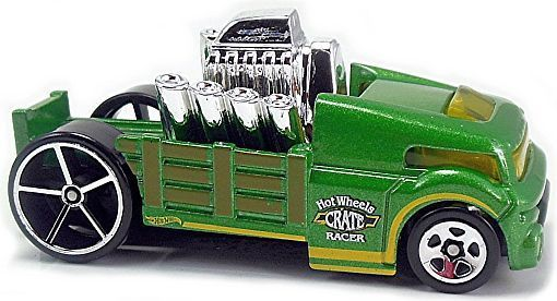 """Mtlflk Green, w/Chrome interior, Yellow windows, Olive stake bed, Black, White, and Yellow stripes and """"Hot Wheels Crate Racer"""" on sides, Chrome rocking engine, Black Malaysia Base, w/Chr5SP's (Front) ChrOH5SP's (Rear). Only $1.25"""