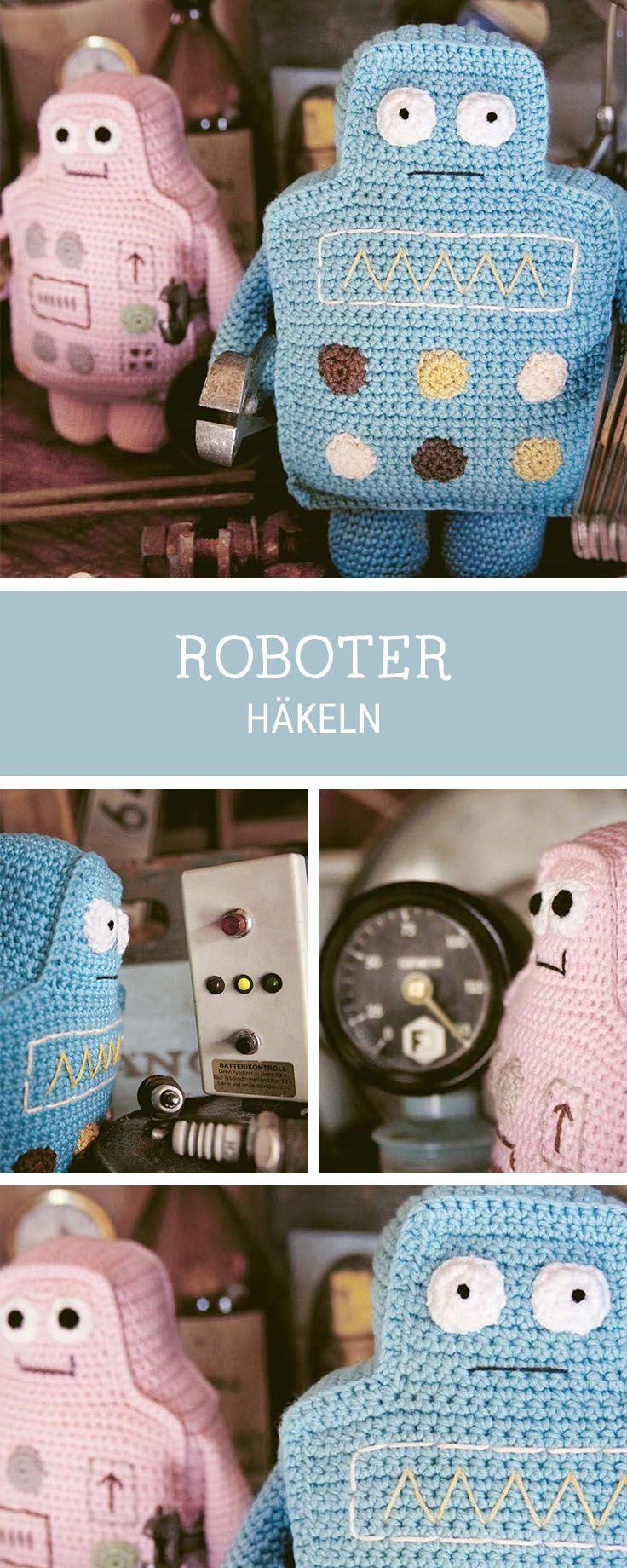 Häkelanleitung: Roboter häkeln / amigurumi pattern for cute robots via DaWanda.com