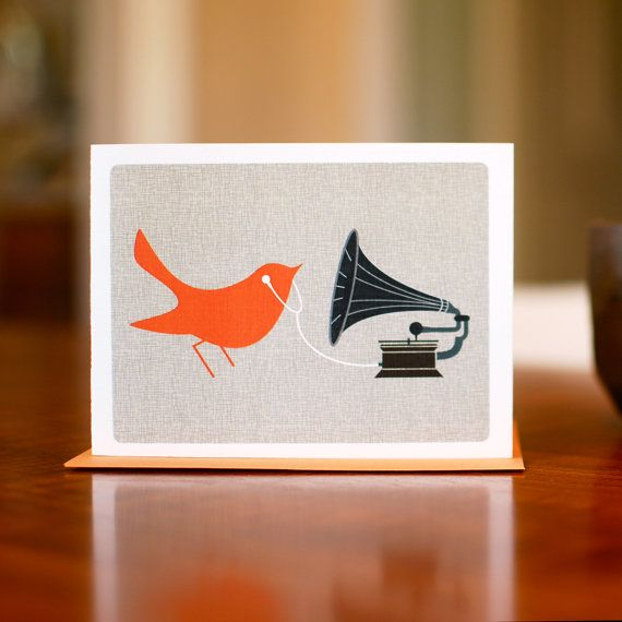 for the audiophile (AKA daddy) mod bird with gramophone and earbuds  by manvsgeorge, $16.50