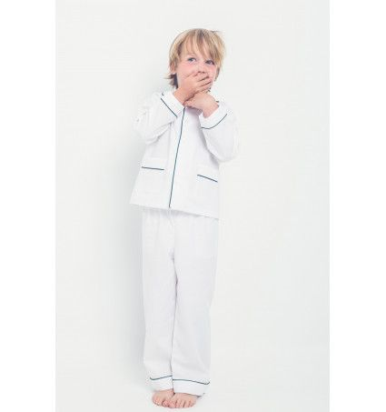 Pijama niño blanco vivo verde