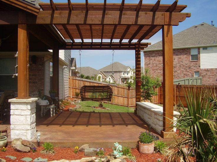 pergola over patio with swing arbor with swing seat attached to patio cover - Pergola Patio Cover Ideas