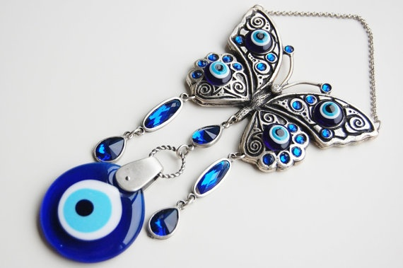 Evil Eye Wall Hanging butterfly wall hanging amulet handmade turkish silver plated evil