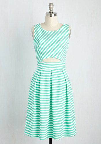 There's Always a Ketch Dress - Mint, Stripes, Print, Daytime Party, A-line, Sleeveless, Woven, Better, Cutout, Spring, Casual, Wedding, Fit & Flare, Sundress
