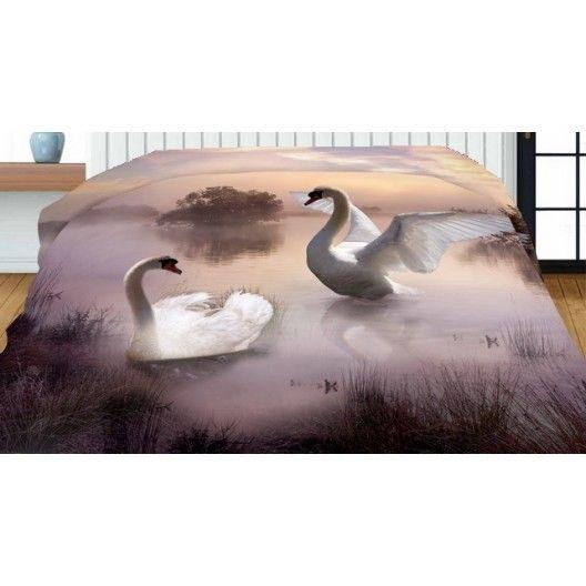 Prehozy na manželskú posteľ obojstranné čierno bielej farby s labuťami