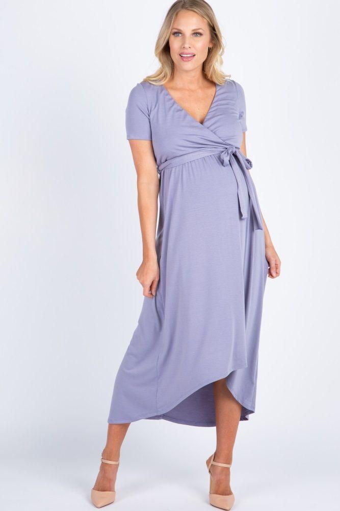 01f7545f1d5cc Lavender Button Pocket Front Maternity Dress | Amor hijo | Maternity dresses,  Pink blush maternity y Dresses