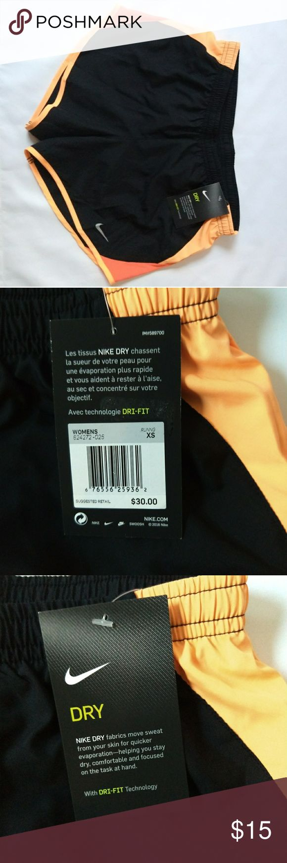 Nike dri-fit running shorts Extra-small Dri-Fit black and orange running shorts, new with tags never worn Nike Shorts