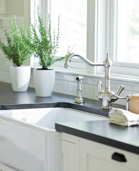 Kitchen Sink With Backsplash: New Home With Comfortable Charm