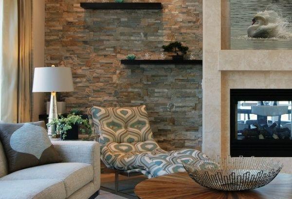 ... Steinwand Im Wohnzimmer, Steinoptik und Fliesen Steinoptik