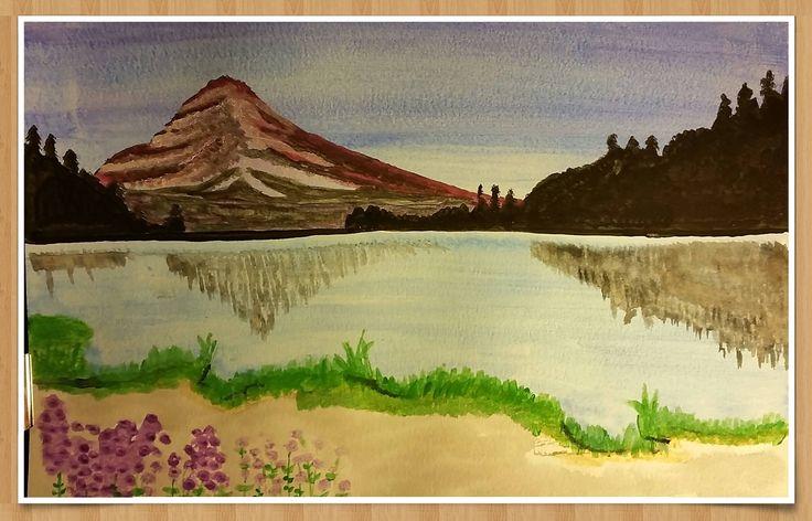 Scenic Lake - water colour