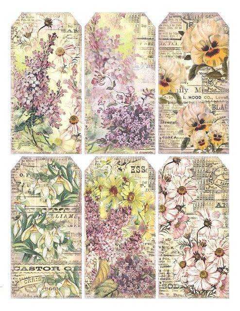 1191 best free printables images on pinterest free printables free printable vintage floral gift tags negle Image collections