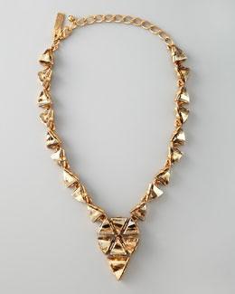 Y18M6 Oscar de la Renta Triangle Cluster Necklace, Golden