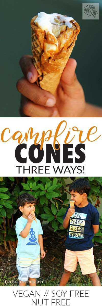 Campfire Cones are sure to be the hit of your camping trip!  Ooey, gooey, and fun to eat! via @frieddandelions