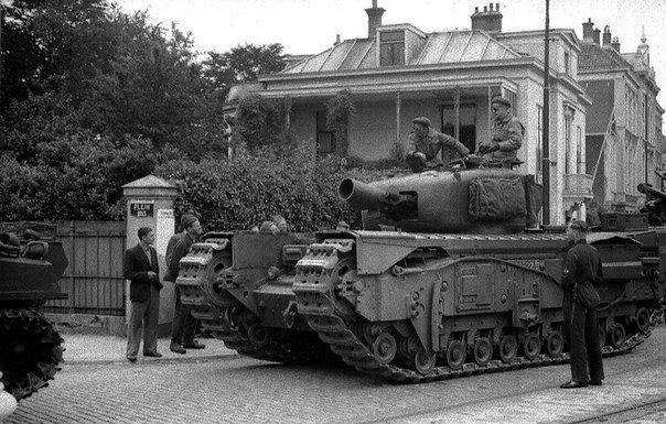 British tank Churchill AVRE on the street of a Dutch town 1944.