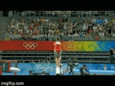 Shawn Johnson gif. 2008 Olympics Team Final Balance Beam standing full twisting back salto #gymnastics