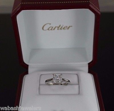 Cartier 1.23ct G VVS2 Platinum Princess Cut Diamond Engagement Ring Band $25,750 - Only $11,850.00.