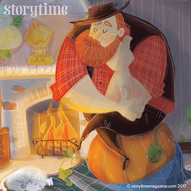 In Stoytime Issue 36's funny folk tale, our hero tries to hatch an egg (pumpkin) with unexpected results! Lovely art by Sara Torretta (http://torrettasara.wixsite.com/saraillustratrice) ~ STORYTIMEMAGAZINE.COM