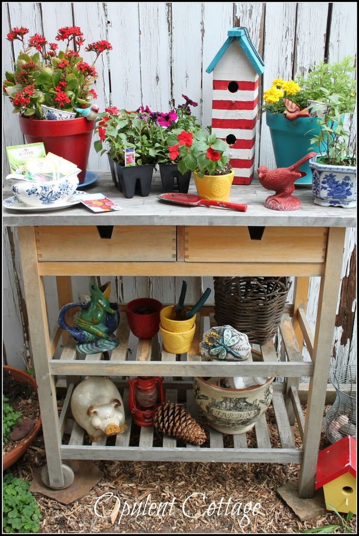 Ikea kitchen cart painted - Opulent Cottage A New Found Kitchen Cart For The Garden