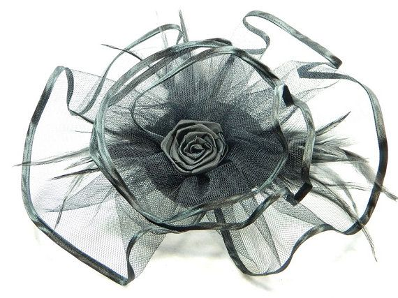 Fascinator black Gothic tulle Ladies Hat Cocktail by Nashimiron