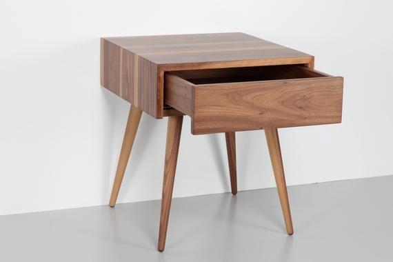 Mid Century Scandinavian Nightstand With One Drawer Bedside Etsy Mid Century Scandinavian Mid Century Modern Nightstand Modern Side Table