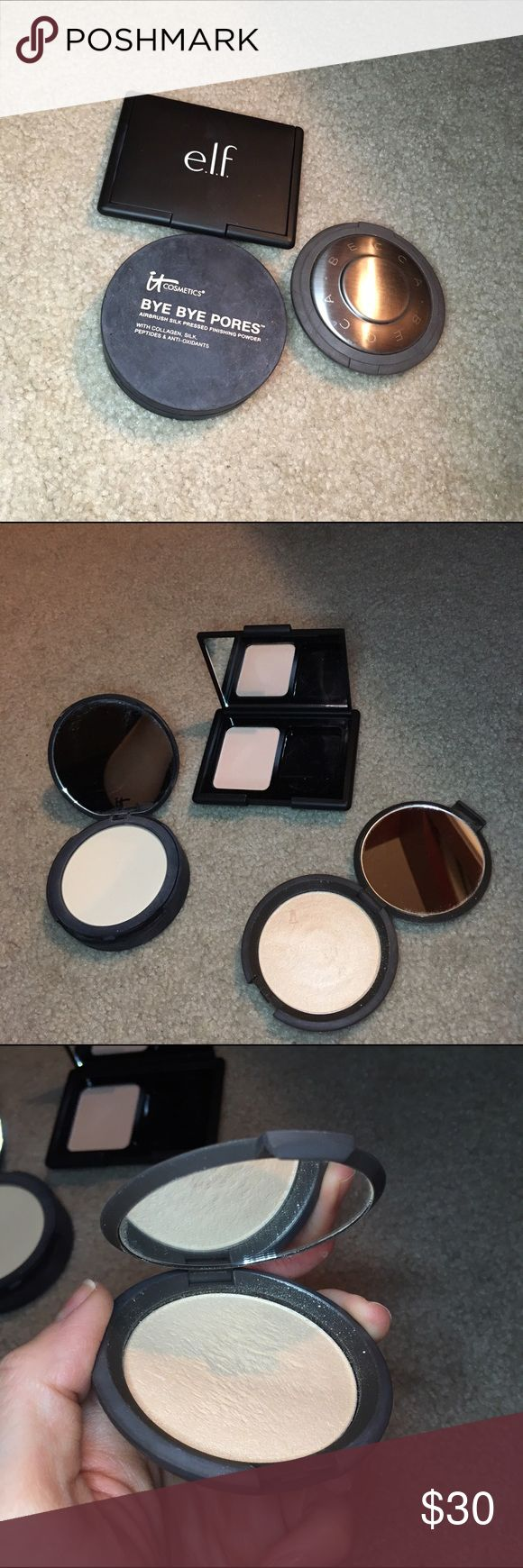 Set of 3 pressed powders - Becca, ITcosmetics, elf Set of 3 pressed powders - Becca, ITcosmetics, elf 1️⃣elf translucent pressed powder. Used once. Sponge not included. $3 retail2️⃣Becca highlighter in moonstone (highly recommended by NikkieTutorials). Used but 25-50% fill left. Have not hit pan yet. $38 retail3️⃣itCosmetics Bye Bye Pores pressed powder. Used but 50-75% fill left. No sponge included. $29 retail. I am downsizing my makeup & don't use these much anymore. All will be sanitized…