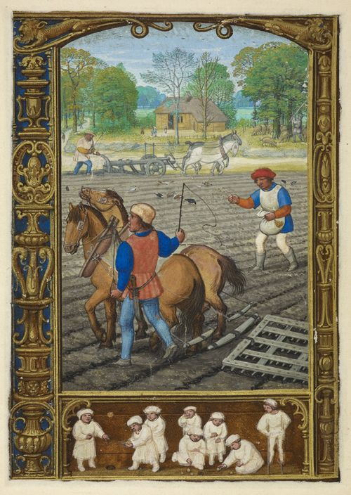 From the Medieval Manuscripts blog post 'A Calendar Page for September 2013'. Image: Calendar page for September with a miniature of labourers ploughing and sowing grain, from the Golf Book (Book of Hours, Use of Rome), workshop of Simon Bening, Netherlands (Bruges), c. 1540.