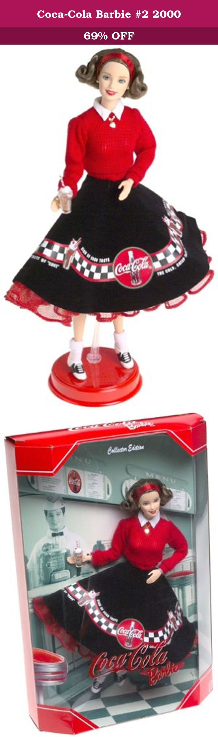 Coca-Cola Barbie #2 2000. 2nd in the Coca Cola Barbie Series. Let's go to the hop with Barbie! Dressed in her poodle skirt, bobby socks, red sweater, and matching headband, Barbie is ready to kick up her saddle shoes at the sock hop. Barbie's brown hair is curled in a tight fifties flip, and her cherry red lipstick gives her the perky teenage style of long ago. Her matching gold ball earrings and sweetheart locket are just the right touch to complete Barbie's wholesome look. The trim of…