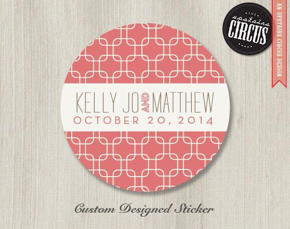 Custom wedding stickers modern deco chainlink theme