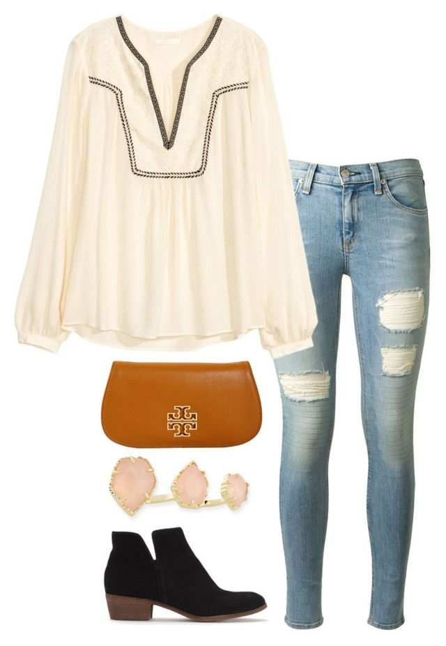 """""""embroidered blouse"""" by helenhudson1 ❤ liked on Polyvore featuring rag & bone, H&M, Tory Burch, Kendra Scott, Splendid, women's clothing, women's fashion, women, female and woman"""