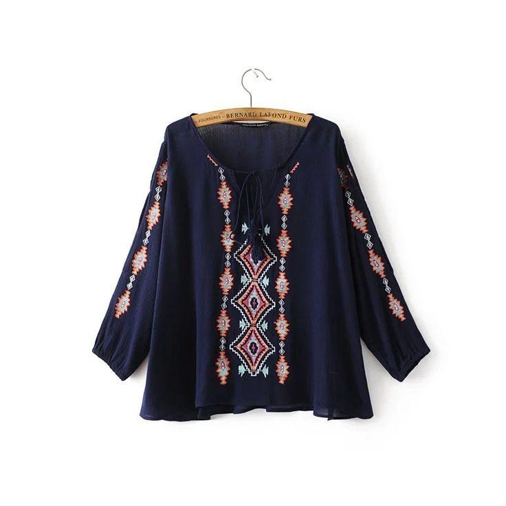 Embroidered Crepe Blouse (B0090)    #caterpillar #barnard #lafond #bernardlafond #cottage glaze #groove #moda #shop #shopping #blouse #womenblouse #girlsblouse #shop