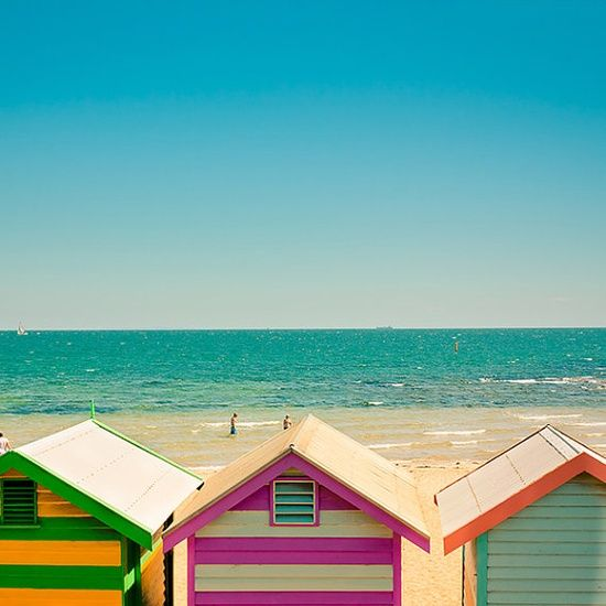 Bright colourful beach huts - dreamy