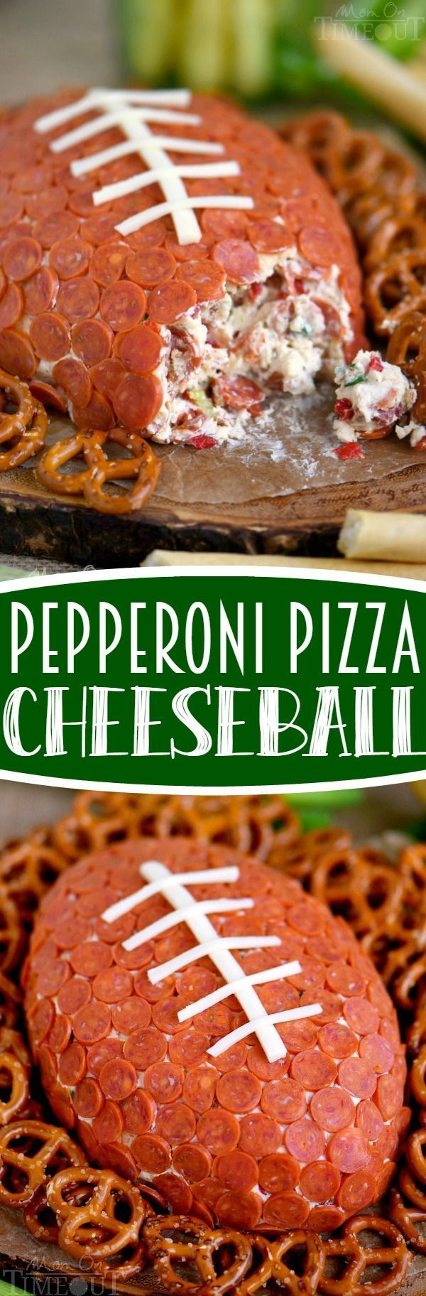 This Pepperoni Pizza Football Cheese Ball is my new favorite thing! Super easy to make and a total showstopper! Make this for your next game day celebration and watch the crowd go wild! // Mom On Timeout