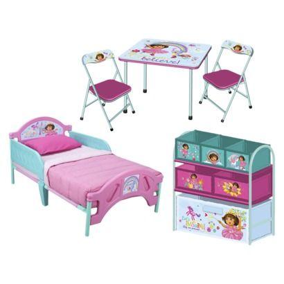 Dora The Explorer 3 Piece Set   Toddler Bed, Multi Bin Toy Organizer And