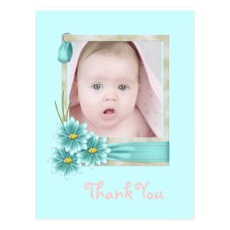 Aqua Teal Daisy Baby Girl Personalized Photogift Postcard
