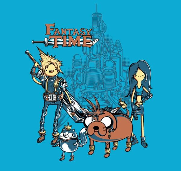 Adventure Time + Final Fantasy VII (Jake as Red XIII is inspired.)